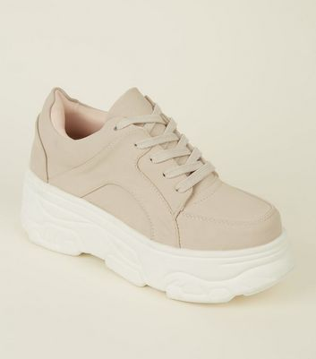 Nude Suedette Chunky Platform Trainers
