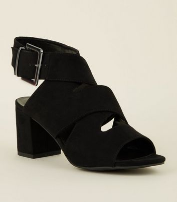 Girls Black Suedette Strappy Mid Heel Sandals