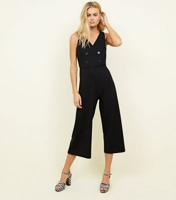 Black Double Breasted Cross Hatch Cropped Jumpsuit