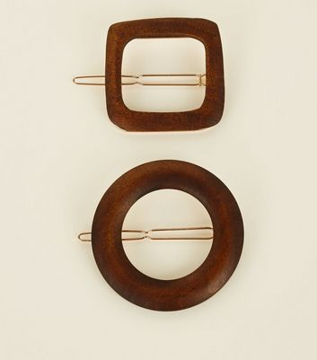 2 Pack Rust Wooden Shape Hair Clips New Look