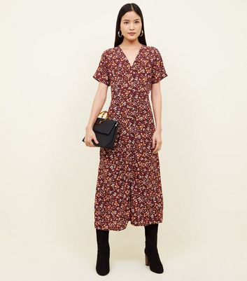 Brown Floral Button Front Midi Dress