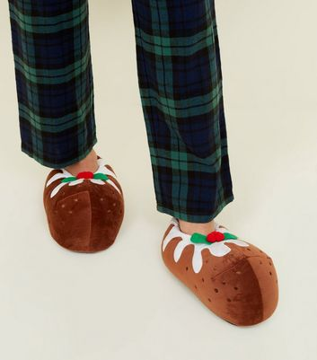 Brown Christmas Pudding Slippers