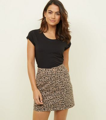 Petite Tan Leopard Print Denim Mini Skirt