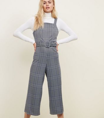 Blue Check Jacquard Belted Pinafore Jumpsuit