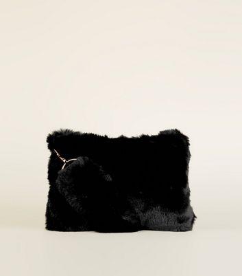 Black Faux Fur Strap Shoulder Bag New Look