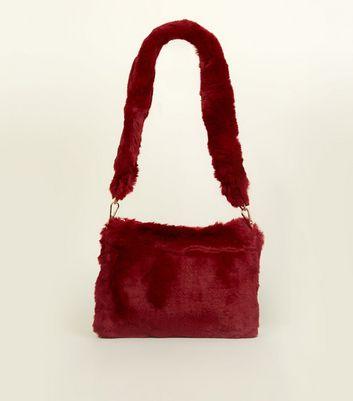 Burgundy Faux Fur Strap Shoulder Bag New Look
