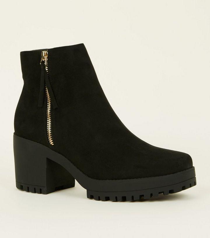 e3e9f342c4c4 Black Square Toe Chunky Heel Ankle Boots