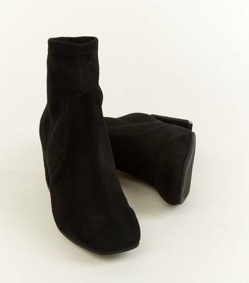 Black Suedette Square Toe Sock Boots