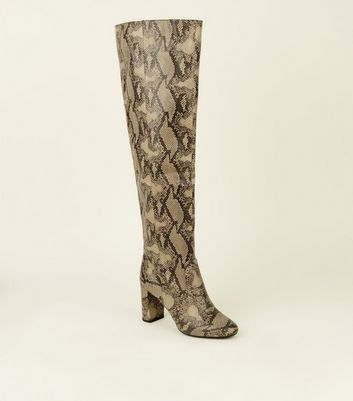 Stone Faux Snake Heeled Knee High Boots