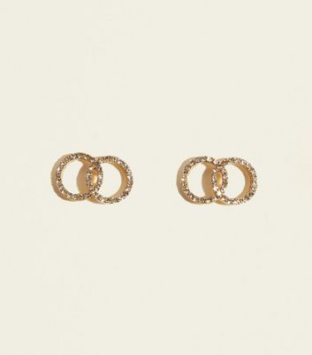 Gold Diamanté Double Ring Stud Earrings