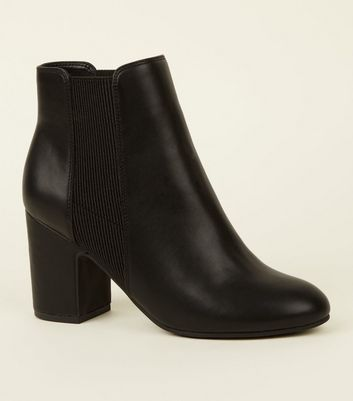 Black Leather-Look Block Heel Chelsea Boots