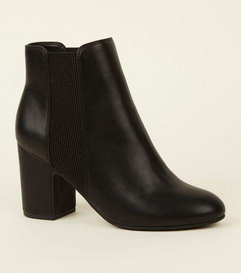 d76409222077 ... Black Leather-Look Block Heel Chelsea Boots ...