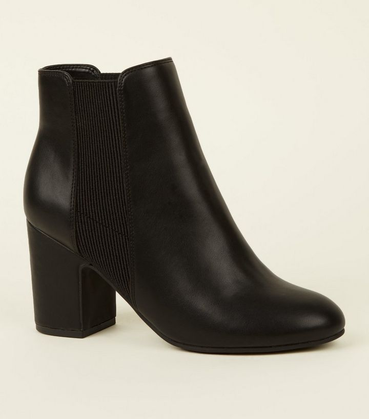 Black Leather-Look Block Heel Chelsea Boots  4470d65eecd6