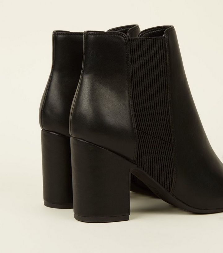 00337bb9cb0 Black Leather-Look Block Heel Chelsea Boots Add to Saved Items Remove from  Saved Items