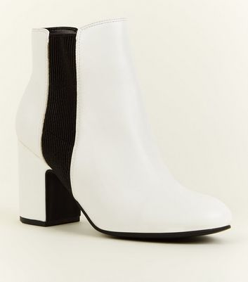 White Leather-Look Block Heel Chelsea Boots