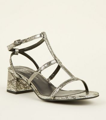 Girls Pewter Faux Snakeskin Strappy Heeled Sandals
