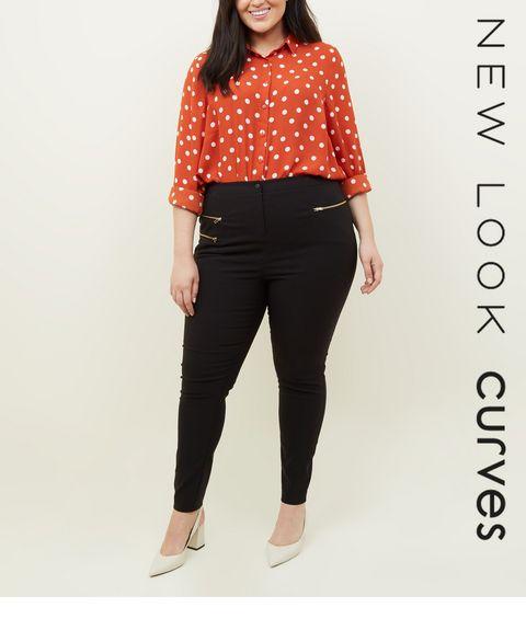 ac59f5267ca ... Curves Black Three Zip Skinny Stretch Trousers ...