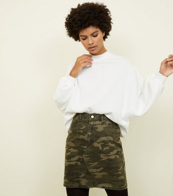 Tall Khaki Camo Print Denim Skirt