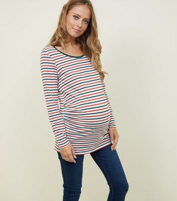 Maternity Orange and Green Stripe Long Sleeve T-Shirt