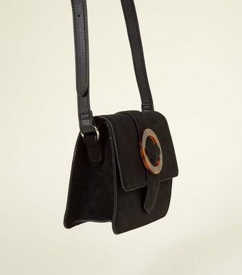 Black Tortoiseshell Resin Buckle Front Shoulder Bag New Look