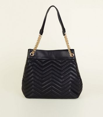Black Leather-Look Quilted Chain Strap Tote Bag New Look