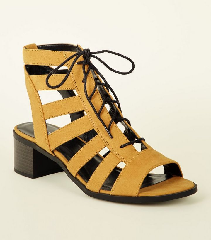 68400664f55 Mustard Suedette Lace Up Ghillie Low Block Heels Add to Saved Items Remove  from Saved Items