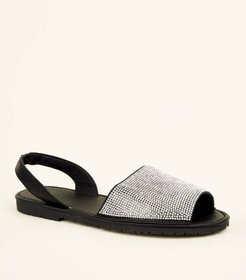 Black Diamanté Peep Toe Flat Sandals