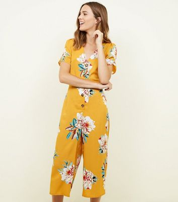 Cameo Rose Yellow Floral Print Button Jumpsuit