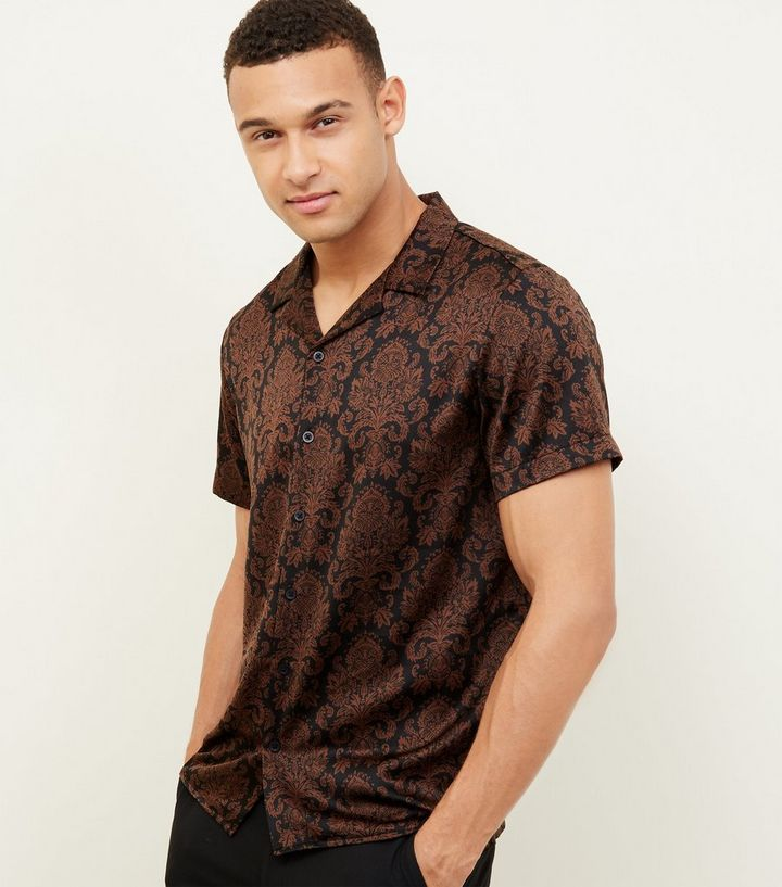 27f074379eee95 Black Floral Print Short Sleeve Satin Shirt | New Look