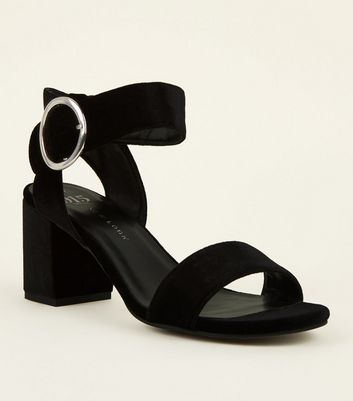 Girls Black Velvet Ring Buckle Sandals