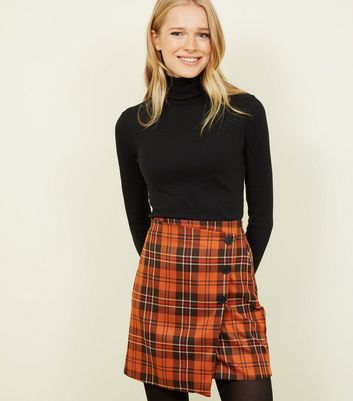 Orange Check Button Side Wrap Mini Skirt