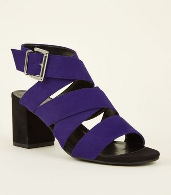 Girls Purple Suedette Block Heel Mules