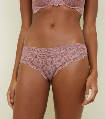 Mid Pink Lace Brazilian Briefs