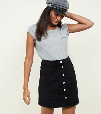 Black Corduroy Button Front Skirt