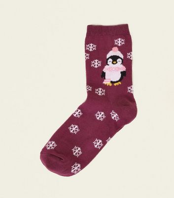 Burgundy Penguin and Snowflake Christmas Socks