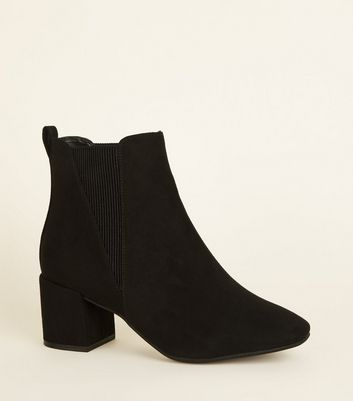 Wide Fit Black Suedette Square Toe Ankle Boots