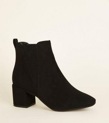 Black Suedette Square Toe Ankle Boots