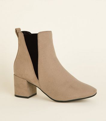 Wide Fit Light Brown Suedette Square Toe Ankle Boots