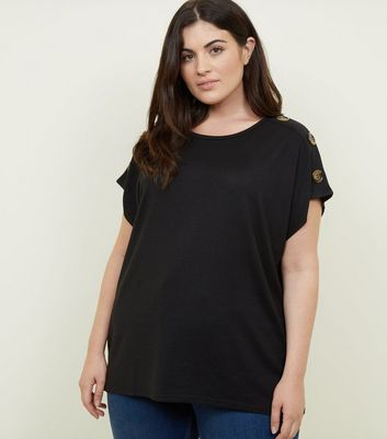 Curves Black Button Shoulder Tunic Top