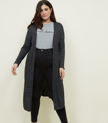 Curves Black Marl Midi Cardigan