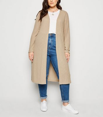Curves Cream Fine Knit Midi Cardigan
