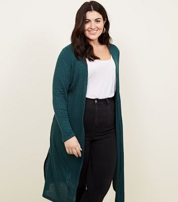 Curves Dark Green Midi Cardigan