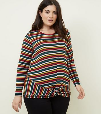 Curves Rainbow Stripe Twist Front Fine Knit Top