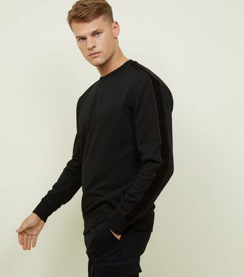 Black Velour Tape Sleeve Sweatshirt