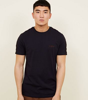 Navy Velour Tape 'Fortune' Embroidered T-Shirt