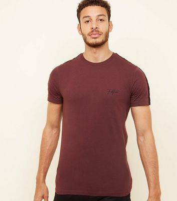 Burgundy Velour Tape 'Fortune' Embroidered T-Shirt