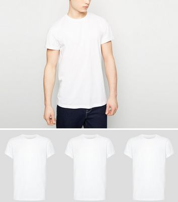 3 Pack White Roll Sleeve T-Shirts