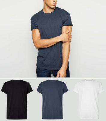 3 Pack Blue Black and White Roll Sleeve T-Shirts