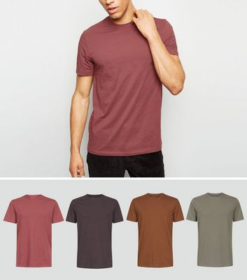 4 Pack Mid Brown Crew Neck T-Shirts