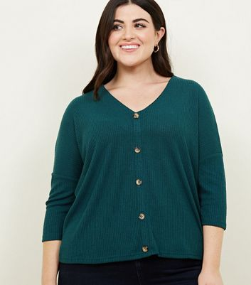 Curves Dark Green Fine Knit Button Front T-Shirt